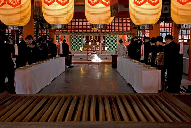 Buddhist Wedding held at Itsukushima Shrine in Miyajima, Japan