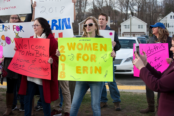 04/04/18 Wesley Bunnell | Staff Mayor Erin Stewart's supporters stand outside of New Britain High School before the CT GOP held their 4th gubernatorial debate of the season as supporters hold signs and chant in her support. Mayor Stewart was unable to speak at the event for not reaching the minimum funds required to participate.