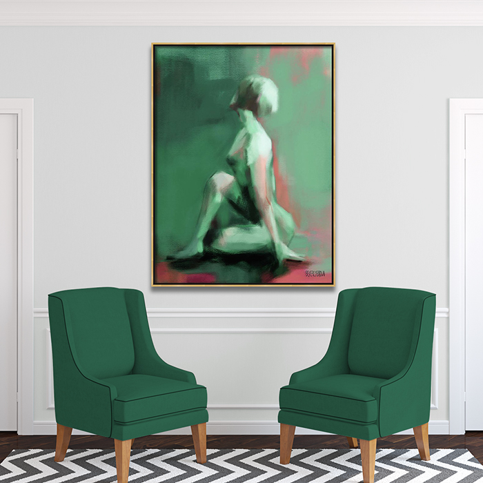 Seated Woman Jade Emerald Green & Coral large canvas wall art by Beverly Brown. Shown here in a black and white foyer with emerald green chairs.