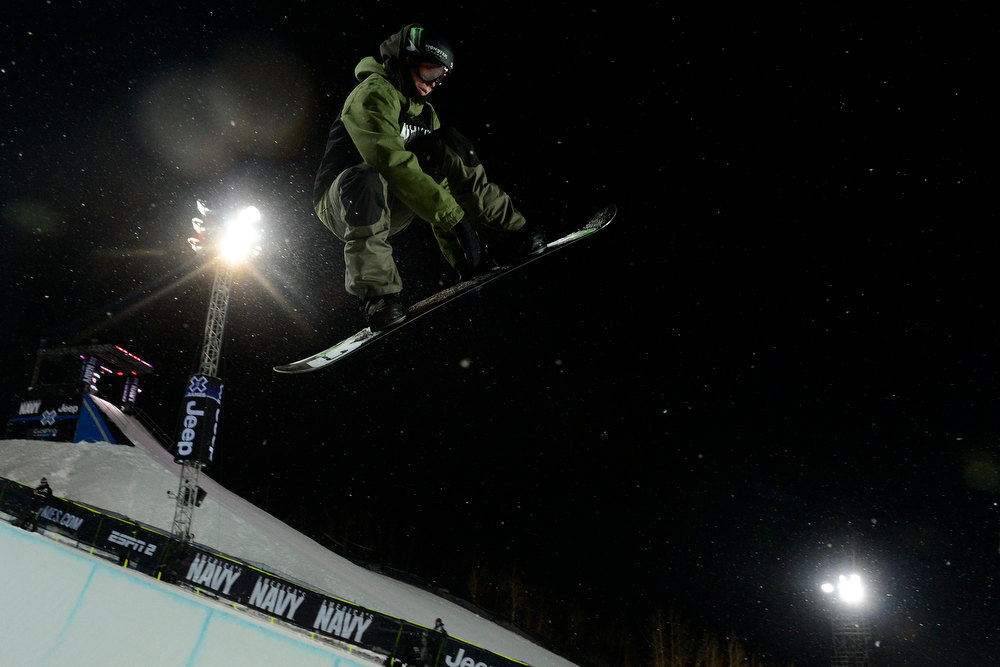 Description of . ASPEN, CO. - JANUARY 24: Christian Haller gets air during the Men's snowboard SuperPipe practice at the 2013 Aspen X Games on Buttermilk Mountain on January 24, 2013. (Photo By Mahala Gaylord / The Denver Post)