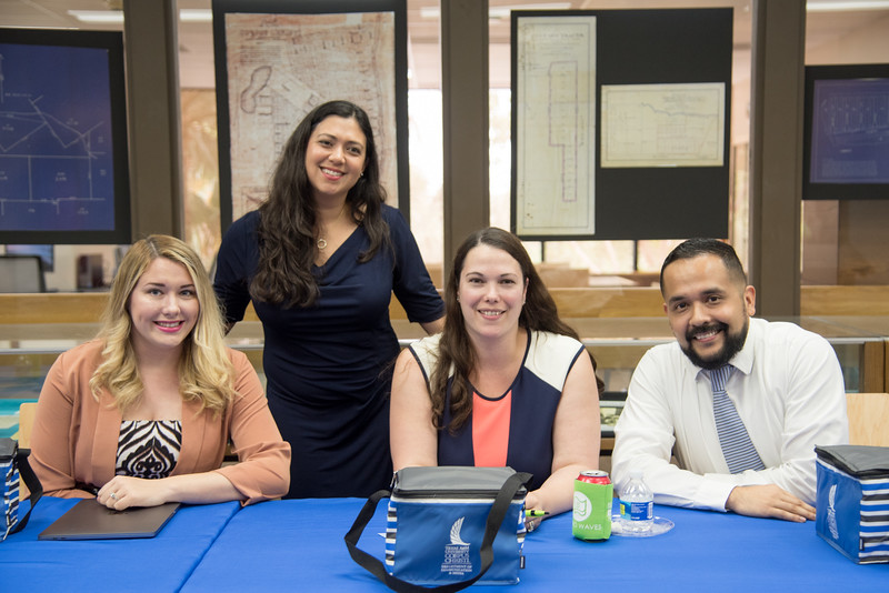 Madeline Chalk (left), Marjorie Boudreaux, Mary Ann Cavazos, and Oscar Garcia pose for a group photo after serving as guest speakers for the COMM Week PR Panel.