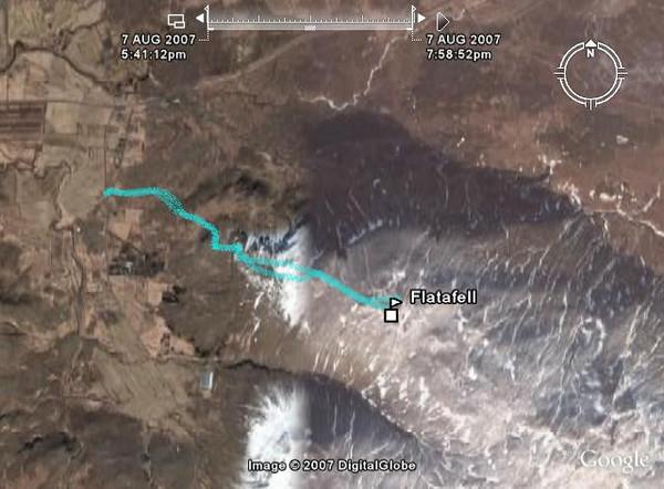 Leiðin sem farin var séð í Google Earth