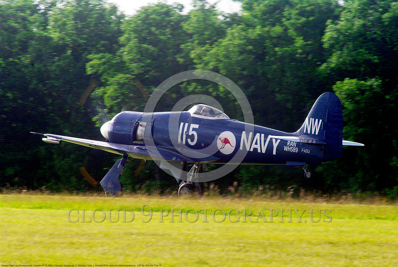 WB-Sea Fury 00079 A blue Hawker Sea Fury fighter take-off roll warbird picture by Stephen W. D. Wolf.JPG
