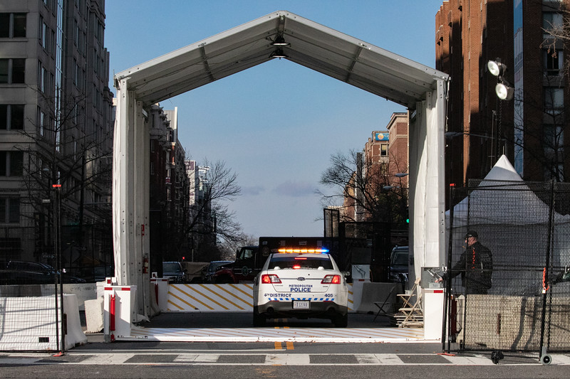 A Metropolitan Police Department vehicle stops at a vehicular magnetometer checkpoint in downtown Washington, D.C. during inauguration