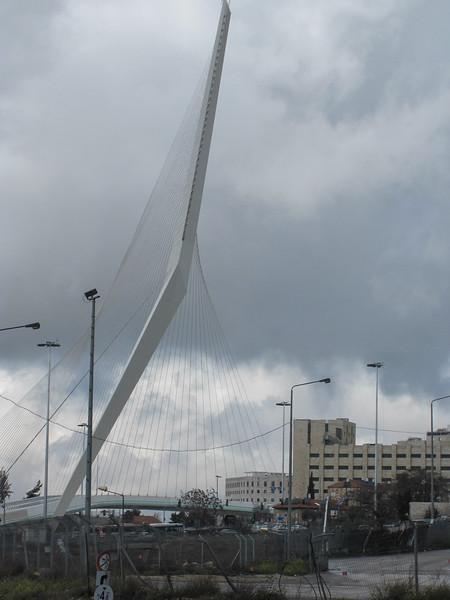 "Modern Jerusalem: subway bridge supported by single ""pillar"""