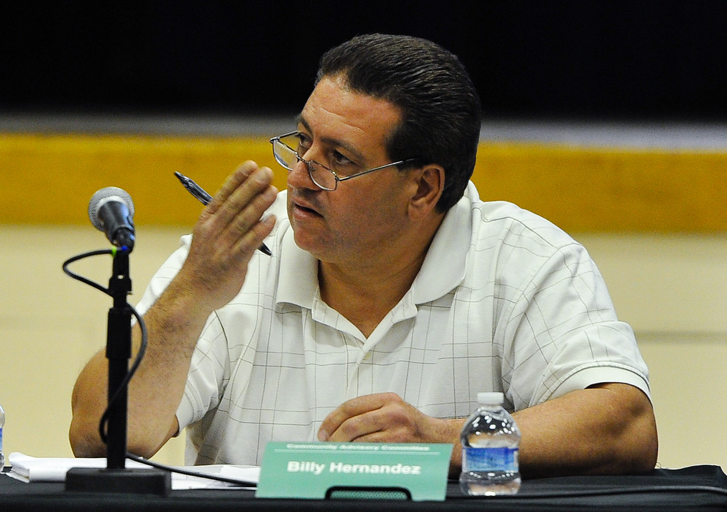 . Billy Hernandez, a member of the Community Advisory Committee meeting, speaks to PG&E officials during the meeting, which the town\'s latest water problems and the closing of the town\'s school at Hinkley Elementary/Middle School in Hinkley, Calif. on Thursday, Feb. 28, 2013. Residents are recruiting signatures for a class action lawsuit against the Barstow Unified School District in a fight to save the town\'s only school. (Rachel Luna / San Bernardino Sun)