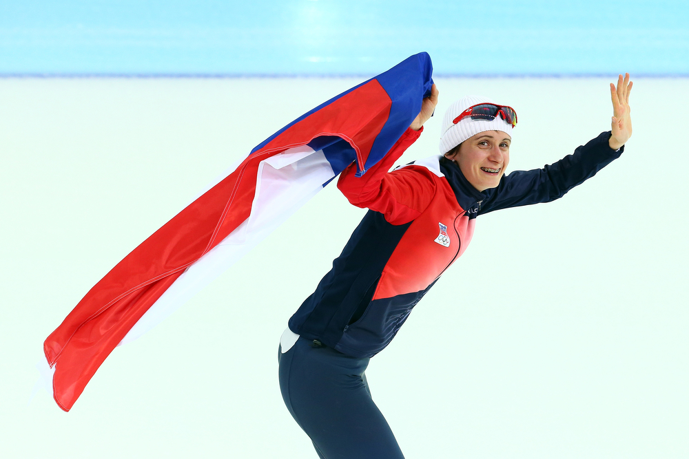 . Martina Sablikova of the Czech Republic celebrates winning the gold medal during the Women\'s 5000m Speed Skating event on day twelve of the Sochi 2014 Winter Olympics at Adler Arena Skating Center on February 19, 2014 in Sochi, Russia.  (Photo by Streeter Lecka/Getty Images)