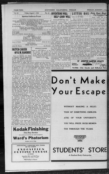 Southern California Trojan, Vol. 9, No. 10, August 01, 1930