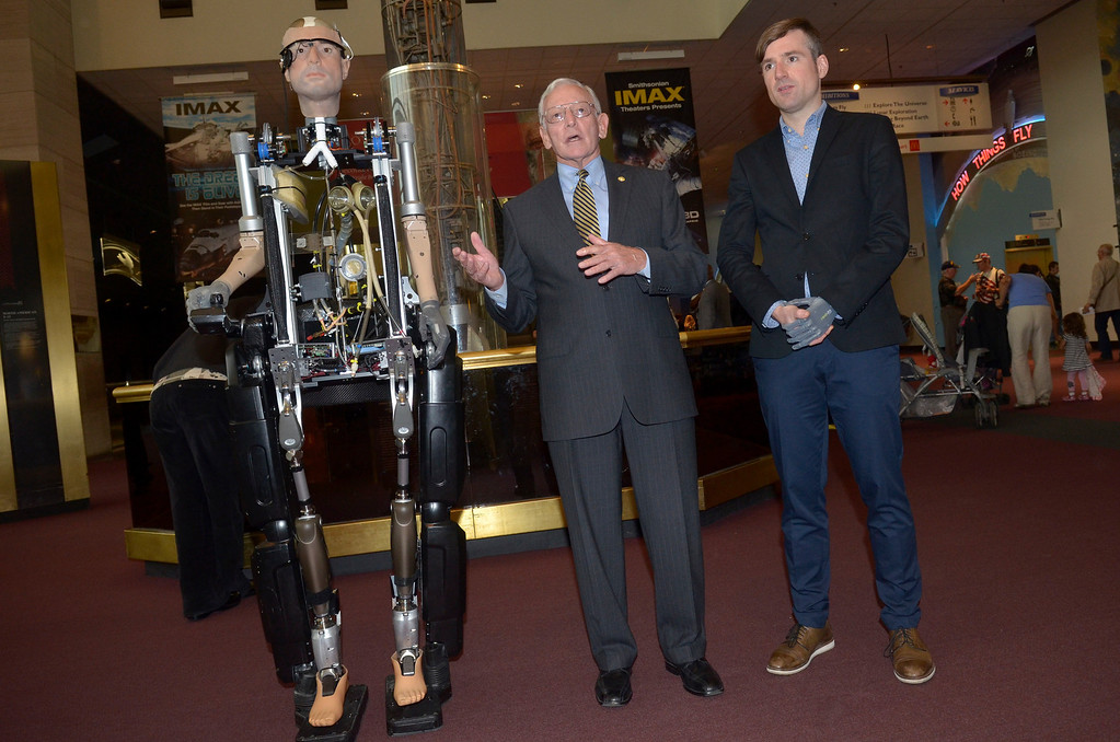 . Jack Daily and Berlolt Meyer speak during The Incredible Bionic Man arrival at the Smithsonian National Air and Space Museum where he will be on display through the fall, the subject of the new Smithsonian Channel special premiering Sunday, October 20 at 9pm  on October 17, 2013 in Washington, DC. (Photo by Kris Connor/Getty Images for Showtime)