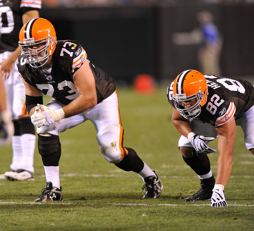 . Cleveland Browns\' Joe Thomas, left, and Steve Heiden during a preseason NFL football game against the Tennessee Titans on Saturday, August 29, 2009, at Cleveland Browns Stadium in Cleveland, Ohio. (AP Photo/David Richard)