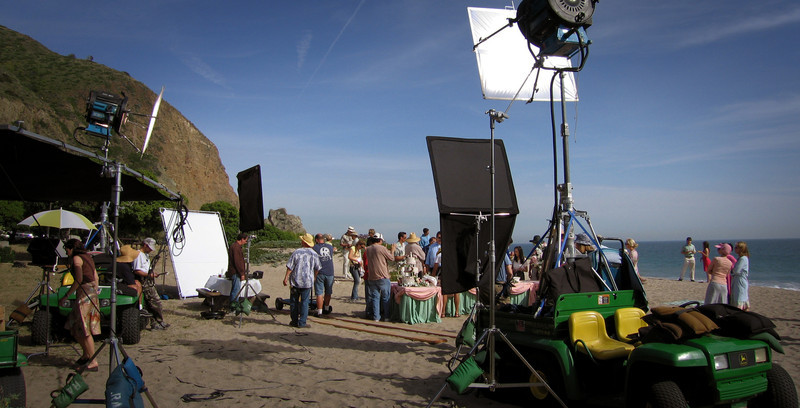 Shooting on the beach in Malibu