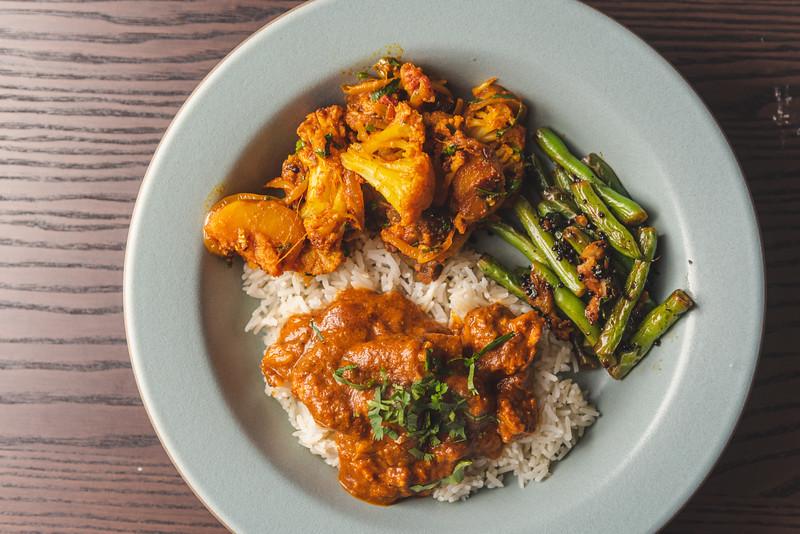 Aloo Gobi, Chicken Kolhapuri, Mustard Green Beans