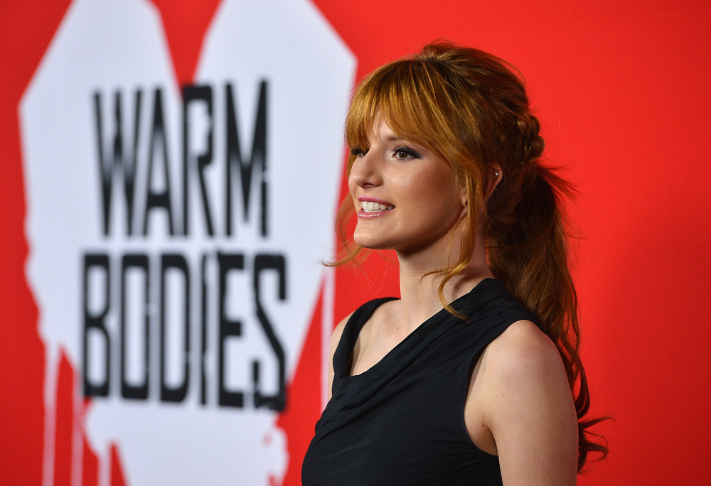 "Description of . Actress Bella Thorne arrives at the premiere of Summit Entertainment\'s ""Warm Bodies\"" at ArcLight Cinemas Cinerama Dome on January 29, 2013 in Hollywood, California.  (Photo by Frazer Harrison/Getty Images)"