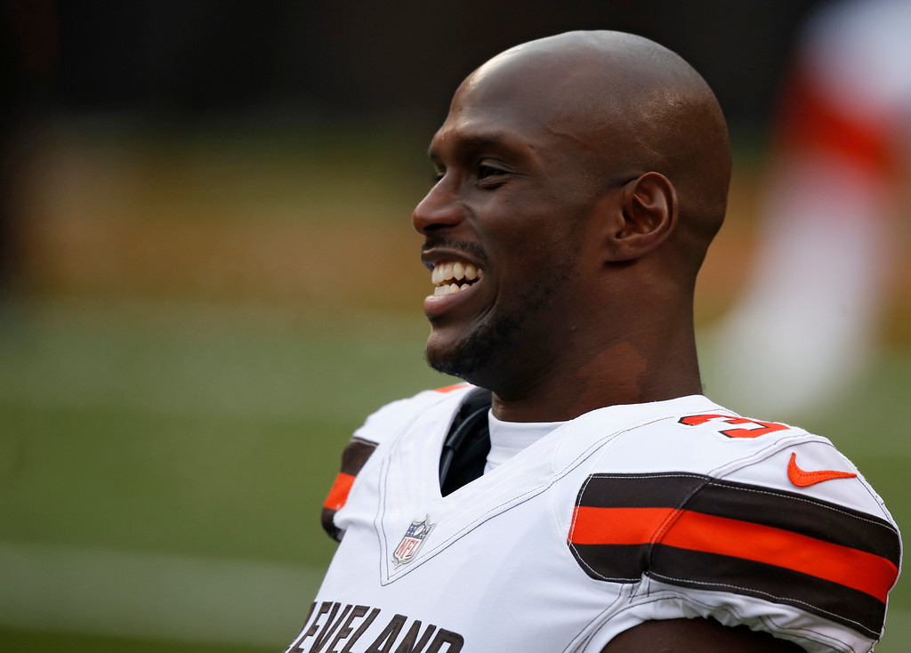 . Cleveland Browns defensive back Jason McCourty smiles before an NFL football game between the Baltimore Ravens and the Cleveland Browns, Sunday, Dec. 17, 2017, in Cleveland. (AP Photo/Ron Schwane)