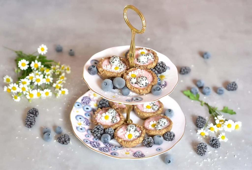 Raspberry Rose Vegan Mini Tarts - Vegan afternoon tea recipes