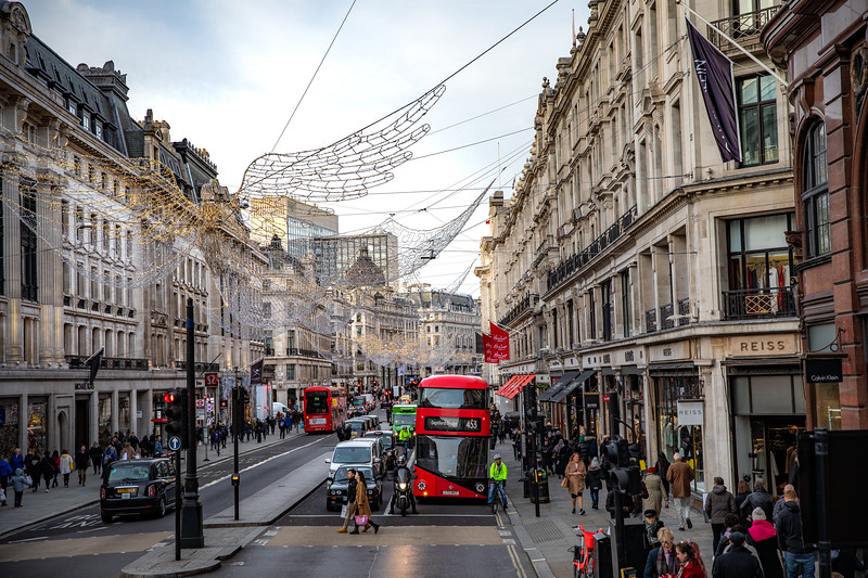 Regents Street with Christmas decorations in Mayfair.