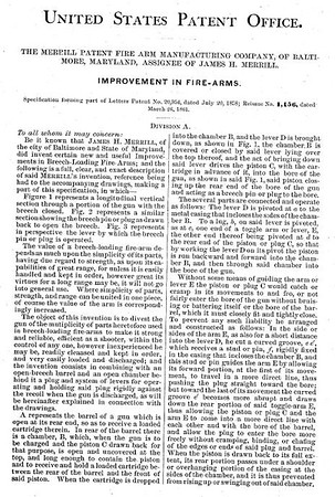20954 RE 1156 - Improvement in Firearms, assigned to the Merrill Patent Firearms Mfg Co (March 26, 1861)