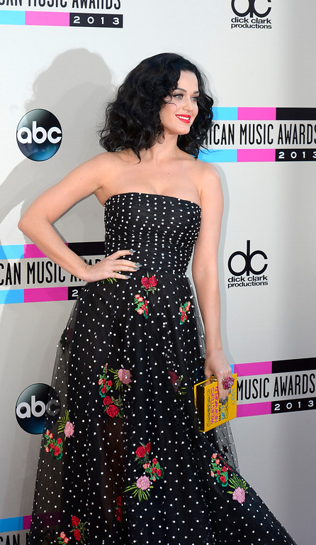 . Katy Perry arrives to the American Music Awards  at the Nokia Theatre in Los Angeles, California on Sunday November 24, 2013 (Photo by Andy Holzman / Los Angeles Daily News)