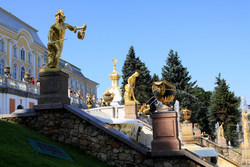 Petrodvorets (or Peterhof) Palace - Some of the gilded statues beside the Grand Cascade.