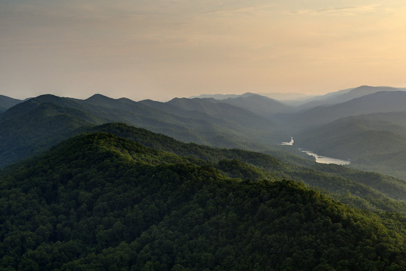 Shadows and light play out across the mountain ridges from the view at the Pinnacle Overlook at Cumberland Gap National Historical Park in Middlesboro, KY on Thursday, June 11, 2015. Copyright 2015 Jason Barnette