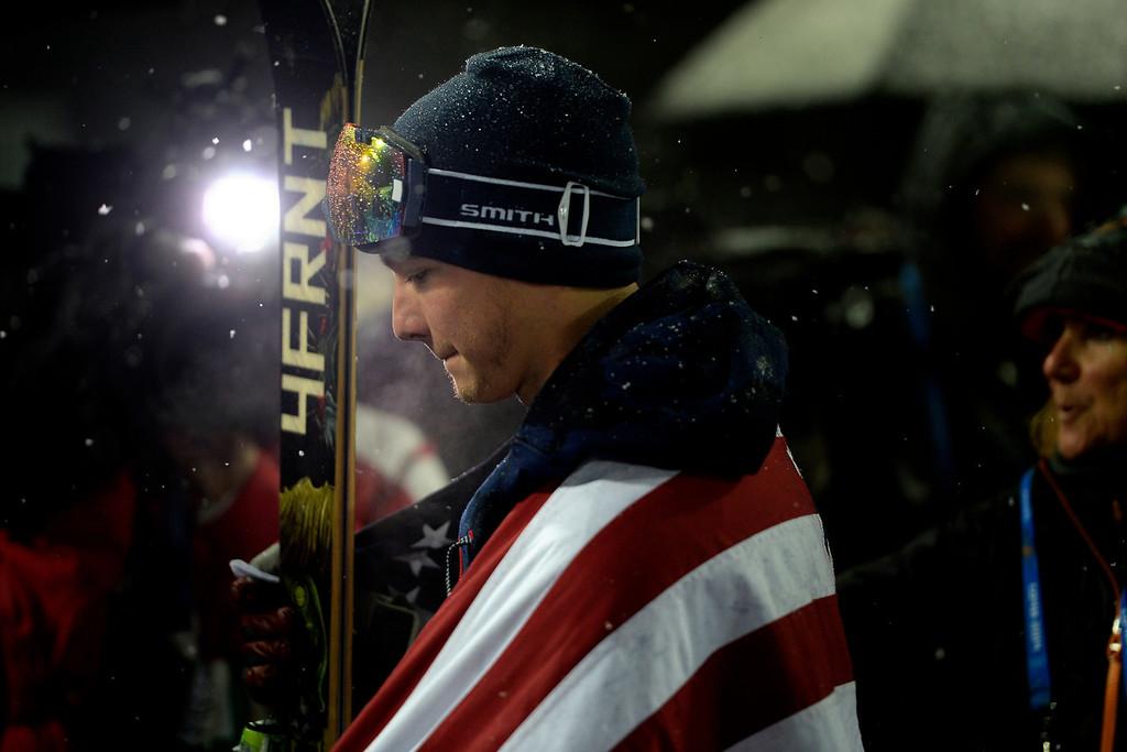 . KRASANYA POLYANA, RUSSIA - FEBRUARY 18: Gold medalist David Wise after winning the men\'s ski halfpipe final. Sochi 2014 Winter Olympics on Tuesday, February 18, 2014. (Photo by AAron Ontiveroz/The Denver Post)