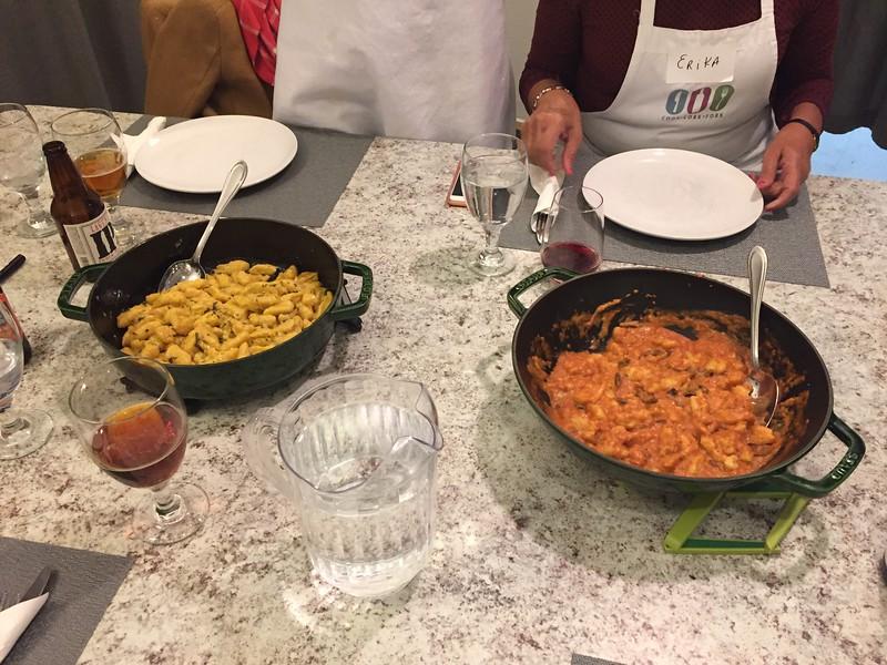 Butternut squash gnocchi (left) and potato gnocchi (right).