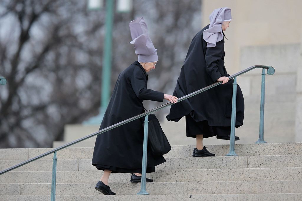 . Nuns walk into the Basilica of the National Shrine of the Immaculate Conception ahead of the funeral for Supreme Court Associate Justice Antonin Scalia February 20, 2016 in Washington, DC. Scalia, who died February 13 while on a hunting trip in Texas, laid in repose in the Great Hall of the Supreme Court on Friday and his funeral service will be at the basilica today.  (Photo by Chip Somodevilla/Getty Images)