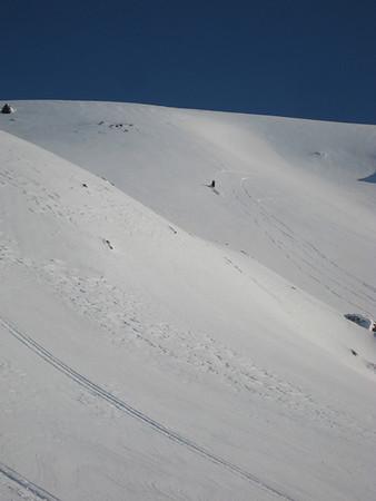 Sleðaflokkur í girðingunni 29. mars 2008