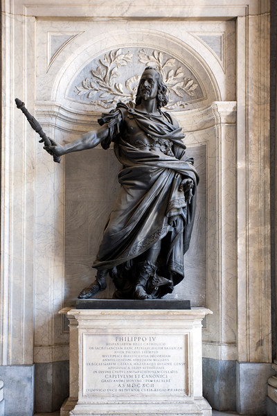 Statue of Philip IV of Spain, designed by Bernini and made by Girolamo Lucenti, Santa Maria Maggiore basilica, Rome