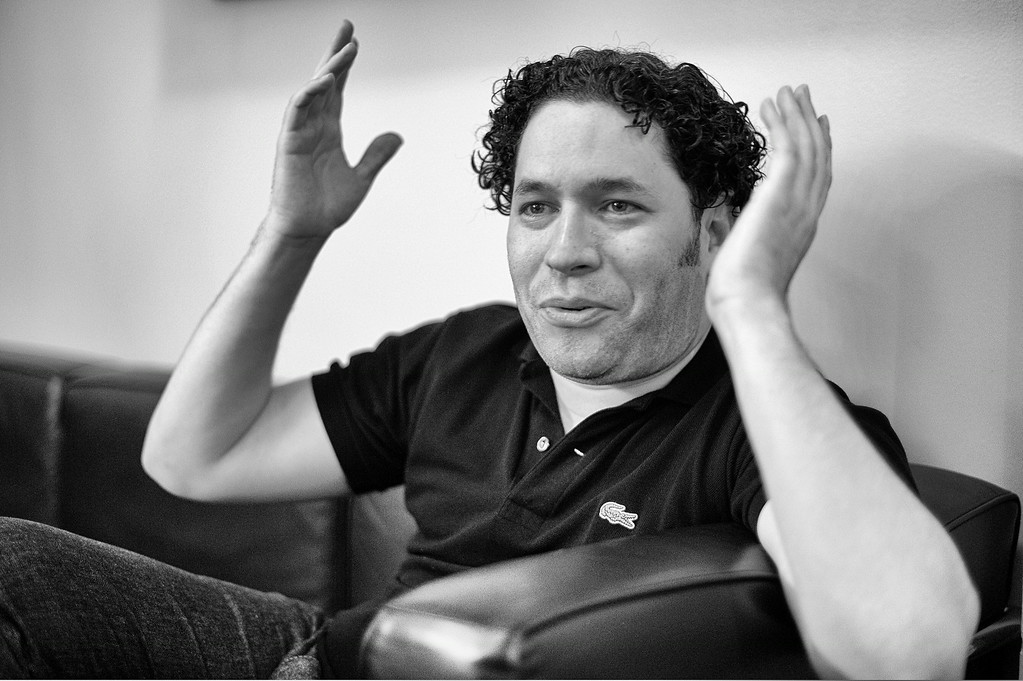. Conductor Gustavo Dudamel during an interview in his dressing room at the Hollywood Bowl Saturday, July 26, 2014. (Photo by Hans Gutknecht/Staff Photographer)