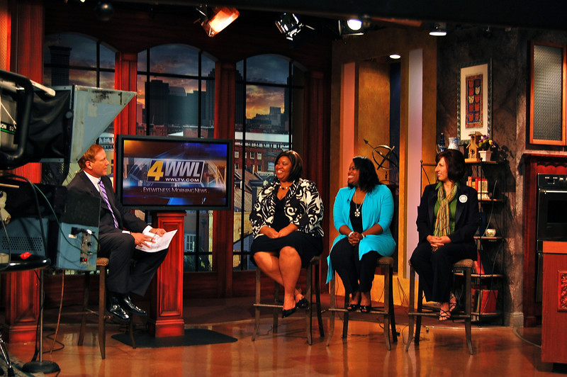 """2010 08-04 - L-R: Katrina, Beverly Black and Tamara Danel interviewed by New Orleans television to promote cyclists completing their 2500-mile ride from Niagara Falls, NY to New Orleans along with a """"Jammin' for Fuller Center"""" fundraising event at """"The Howlin' Wolf."""" ksf"""