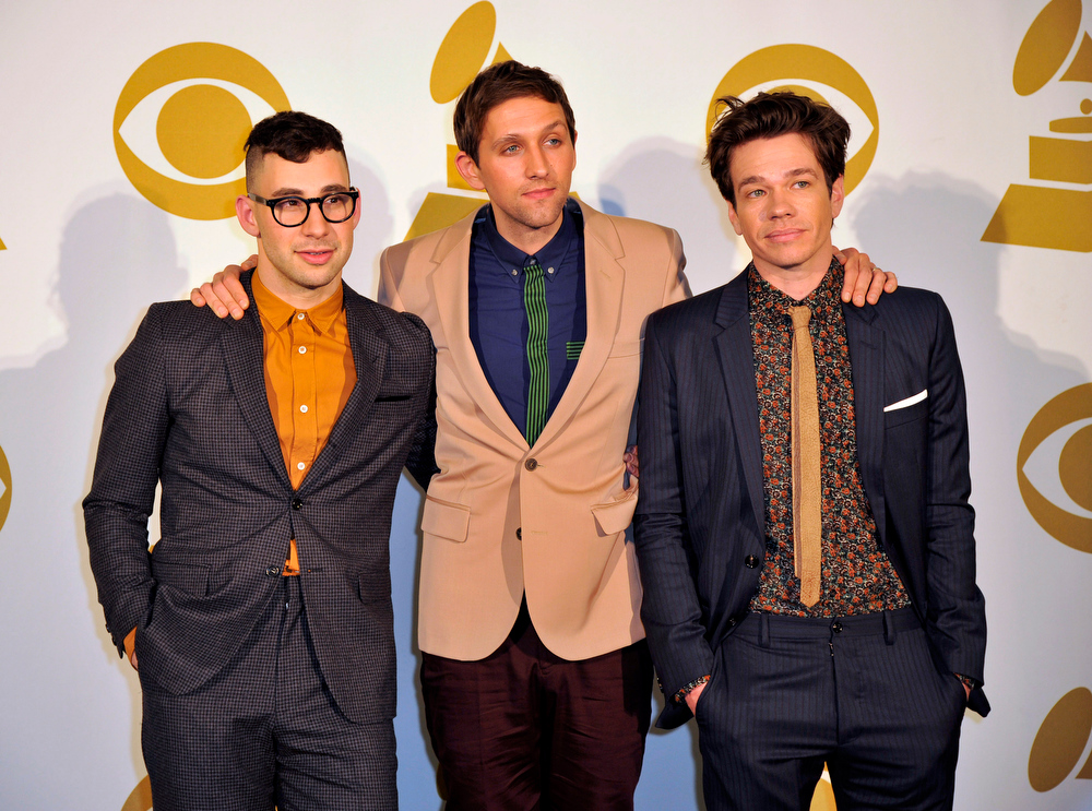 Description of . The band Fun, from left, Jack Antonoff, Andrew Dost and Nate Ruess pose for a photo backstage at the Grammy Nominations Concert Live! at Bridgestone Arena on Wednesday, Dec. 5, 2012, in Nashville, Tenn. (Photo by Donn Jones/Invision/AP)