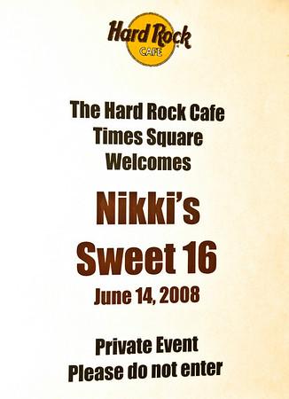 Nikki's Sweet Sixteen At NYC's Hard Rock Cafe