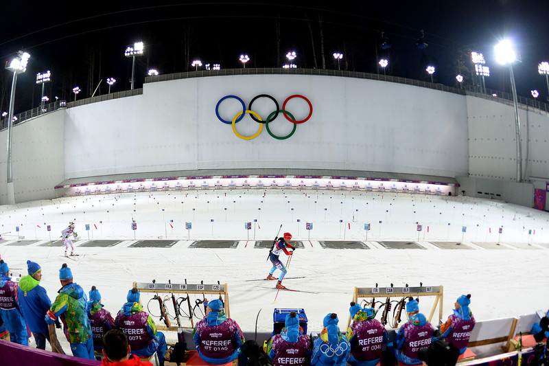 . Yana Romanova of Russia competes in the Women\'s 10 km Pursuit during day four of the Sochi 2014 Winter Olympics at Laura Cross-country Ski & Biathlon Center on February 11, 2014 in Sochi, Russia.  (Photo by Harry How/Getty Images)