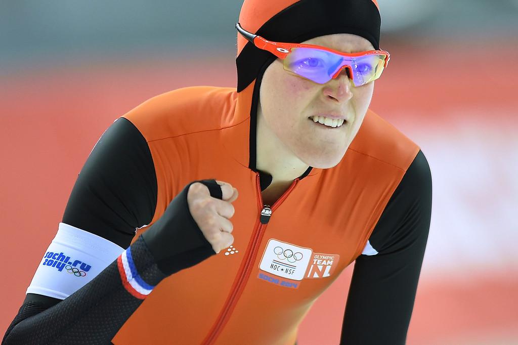 . Netherlands\' Jorien ter Mors reacts after competing in the Women\'s Speed Skating 1500 m at the Adler Arena during the Sochi Winter Olympics on February 16, 2014.  JUNG YEON-JE/AFP/Getty Images
