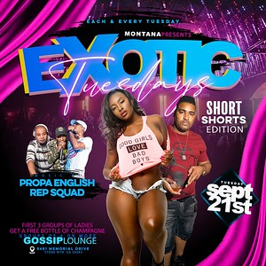 EXOTIC TUESDAY SHORT SHORTS EDITION SEPT. 21st 2021