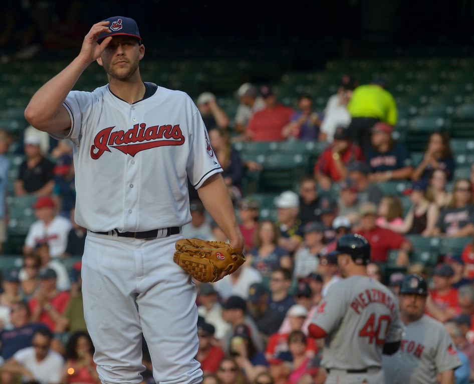 . Jeff Forman/JForman@News-Herald.com Justin Masterson adjusts his cap after walking A.J. Pierzynski to load the bases in the first inning of the Indians\' 3-2 win over the Red Sox June 2 at Progressive Field. Masterson got out of the jam.