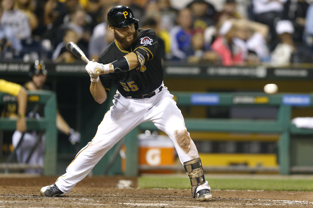. Pittsburgh Pirates\' Russell Martin bats, trying for his 1,000th career hit in the seventh inning of the baseball game against the Detroit Tigerson Tuesday, Aug. 12, 2014, in Pittsburgh. Martin struck out in the at bat as The Pirates won 4-2. (AP Photo/Keith Srakocic)