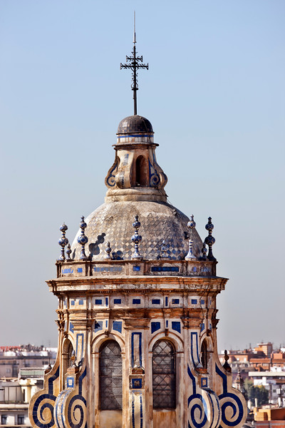 Detail of the top of La Anunciacion church, Seville, Spain