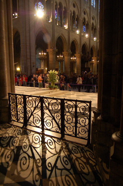 Inside the Cathedral at Notre Dame.