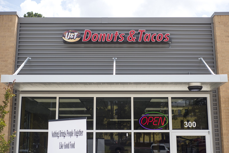 UT Donuts & Tacos' storefront in Tyler, Texas, on Wednesday, Aug. 23, 2017. The new restaurant serves donuts, kolaches, tacos, seafood and more across from The University of Texas at Tyler's campus. (Chelsea Purgahn/Tyler Morning Telegraph)