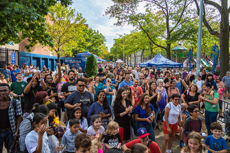 2017_10_07, Block Party, Bus, Exterior, Jackson Heights, NY, Tents