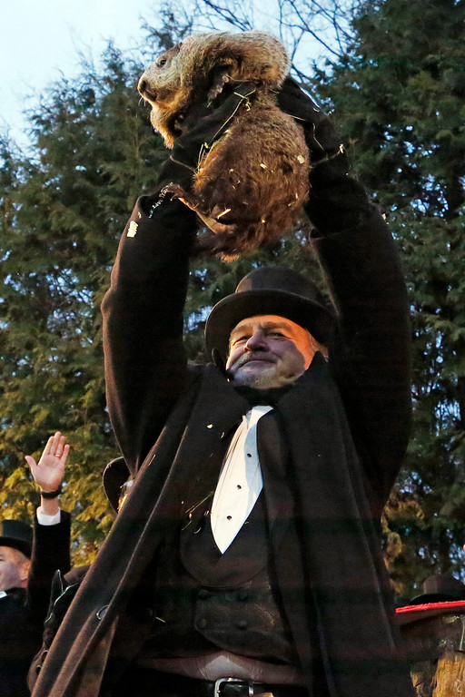 . Groundhog Club handler John Griffiths, center, holds Punxsutawney Phil, the weather prognosticating groundhog, during the 131st celebration of Groundhog Day on Gobbler\'s Knob in Punxsutawney, Pa. Thursday, Feb. 2, 2017. Phil\'s handlers said that the groundhog has forecast six more weeks of winter weather. (AP Photo/Gene J. Puskar)