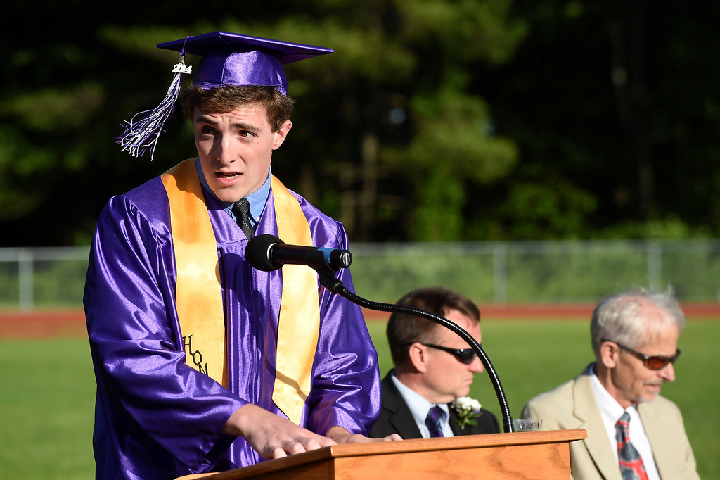 . Kayla Rice/Reformer Colby Leaver McGinn speaks at the BUHS graduation ceremony on Friday evening.
