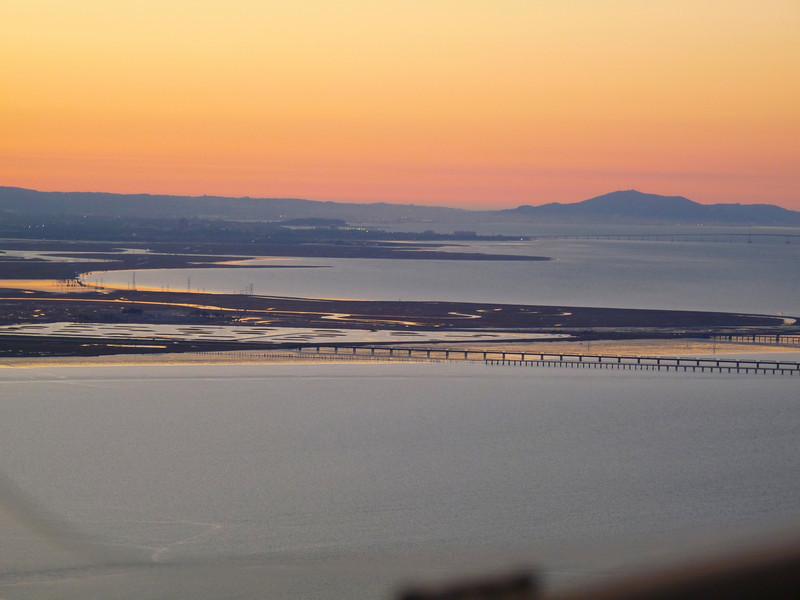 Looking Northwest to the Dunbarton and the San Mateo bridges.
