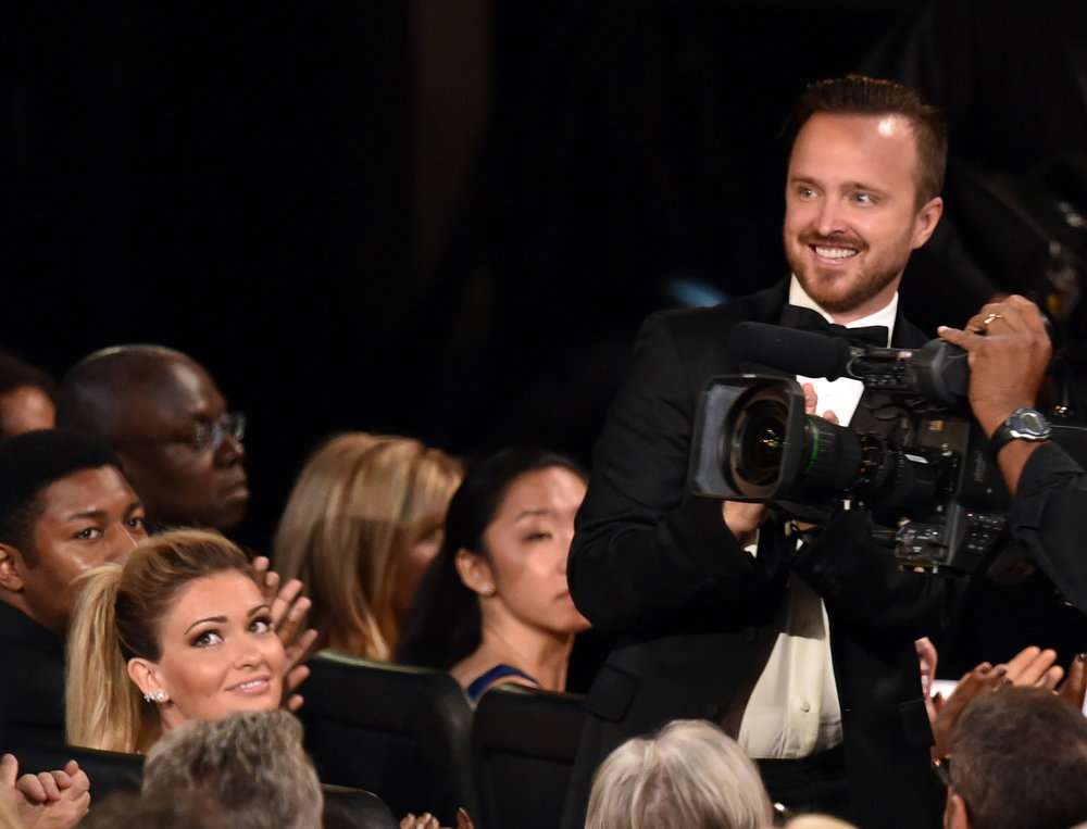 . Actor Aaron Paul in the audience at the 66th Annual Primetime Emmy Awards held at Nokia Theatre L.A. Live on August 25, 2014 in Los Angeles, California.  (Photo by Kevin Winter/Getty Images)