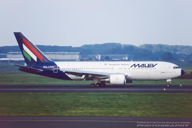 HA-LHA. Boeing 767-27G/ER. Malev. Prestwick. September. 1998.