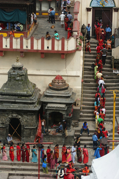 Queue to enter the main temple at Pashupatinath.  It was Shiva's birthday, and one of the most important days of the temple year.