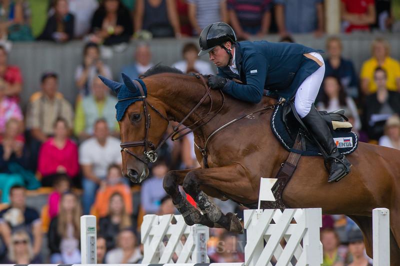 Alexandr BELEKHOV (RUS) with the horse QUINCY 127, World Cup competition, Grand Prix Riga, CSI2*-W, CSIYH1* - Riga 2016, Latvia