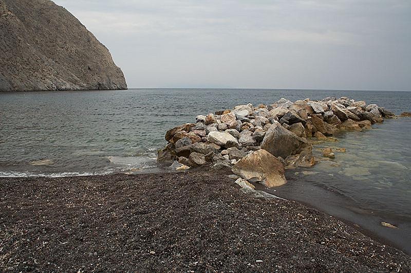 Perissa Beach, one of Santorini's black beaches.